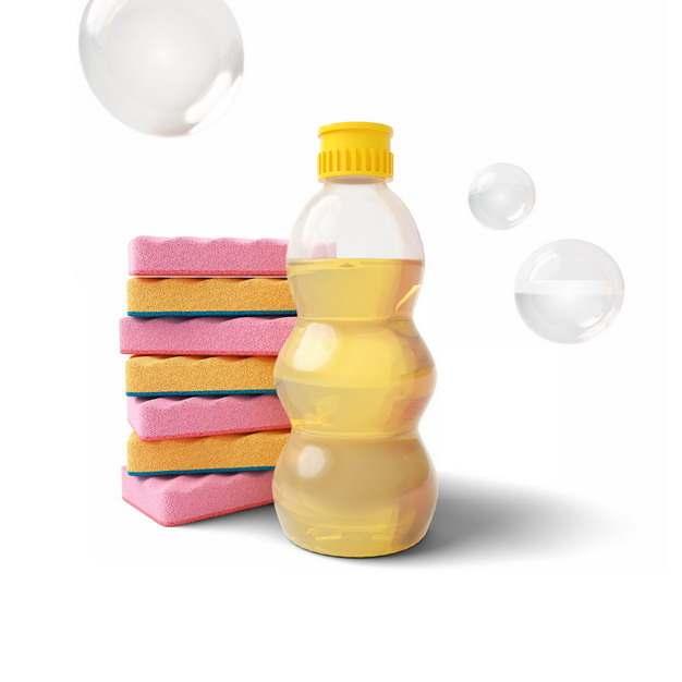 塑料瓶中的洗涤剂和红色黄色海绵百洁布海绵擦688544png图片素材