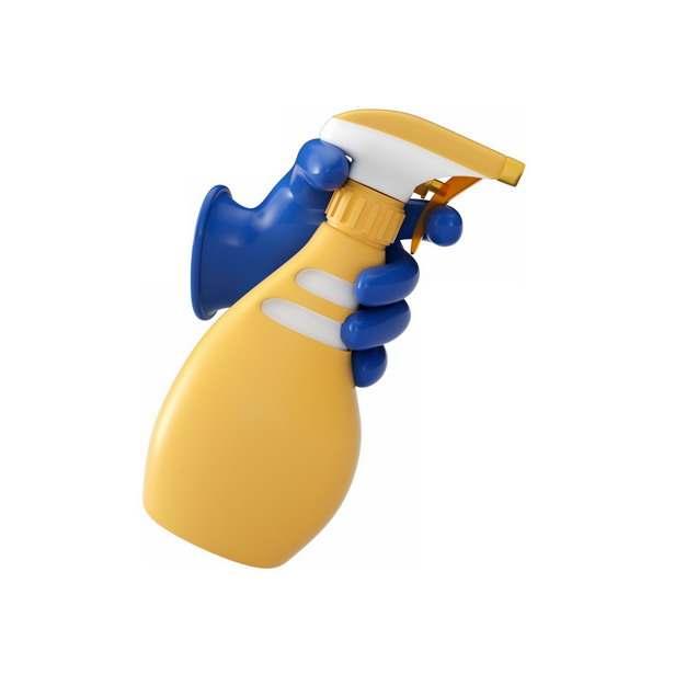 蓝色的橡胶手套喷洒洗涤剂338217png图片素材