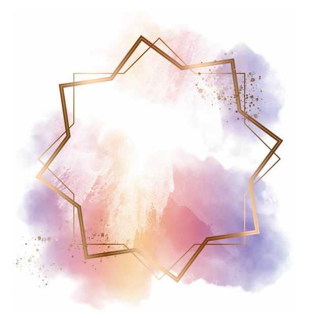 金色多边形边框和粉色紫色墨水渍装饰314400免抠图片素材