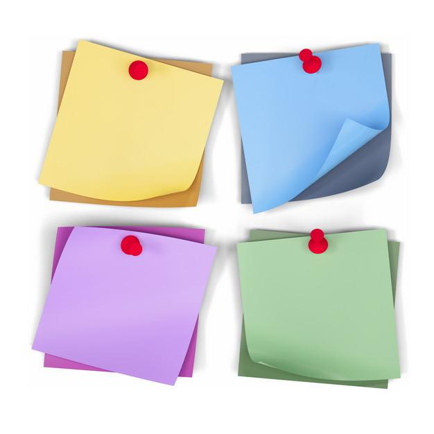 黄色蓝色紫色和绿色便签纸被图钉钉住425455PSD图片免抠素材 边框纹理-第1张