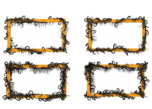 四款干枯的树枝藤蔓缠绕组成的长方形边框880572免抠图片素材