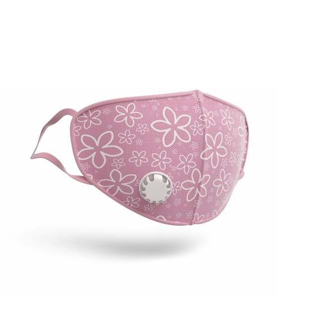3D立体白色花朵装饰图案的粉红色N95口罩559567png图片素材