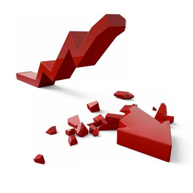 断裂的3D立体风格红色箭头象征了经济股市危机134153png图片素材