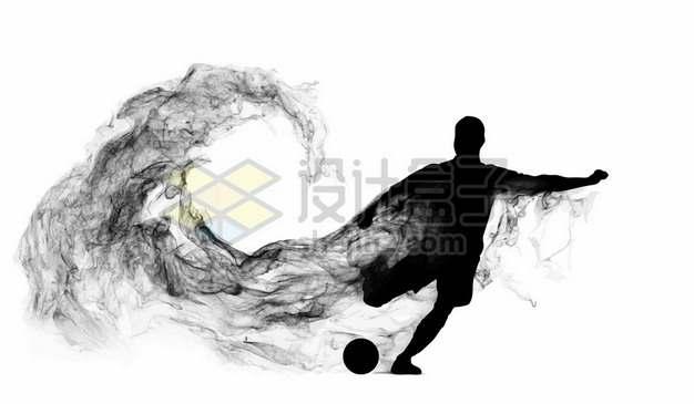 抽象创意足球运动员踢足球剪影烟雾效果594115图片素材