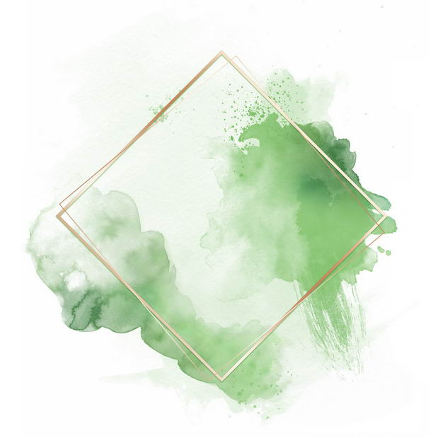 金色四边形边框和绿色墨水渍装饰868853免抠图片素材