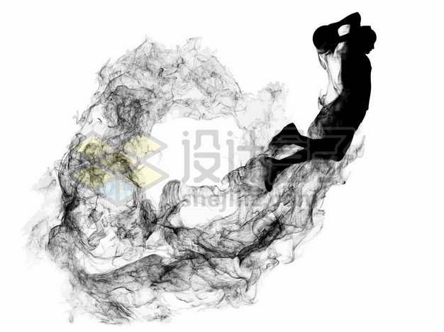 抽象创意篮球运动员打篮球剪影烟雾效果883676图片素材