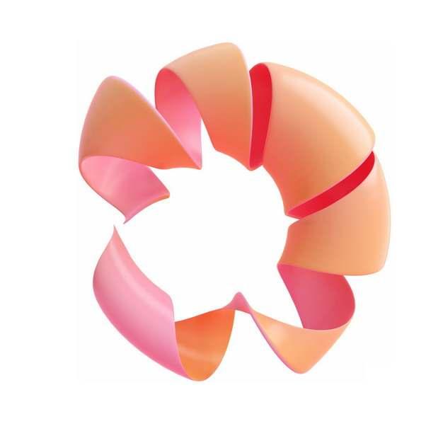 创意粉色橙色抽象扭曲图案798947png图片素材