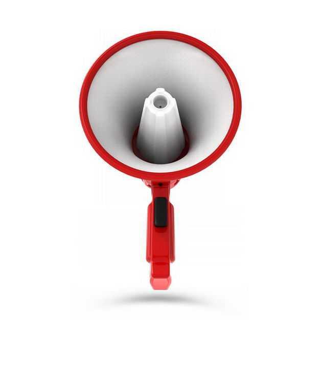 3D立体红白色的大喇叭扬声器正面图475206PSD免抠图片素材