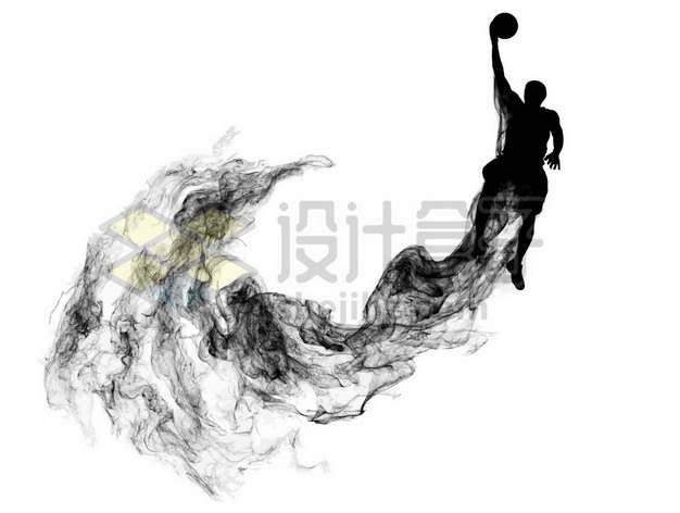 抽象创意篮球运动员打篮球剪影烟雾效果125641图片素材
