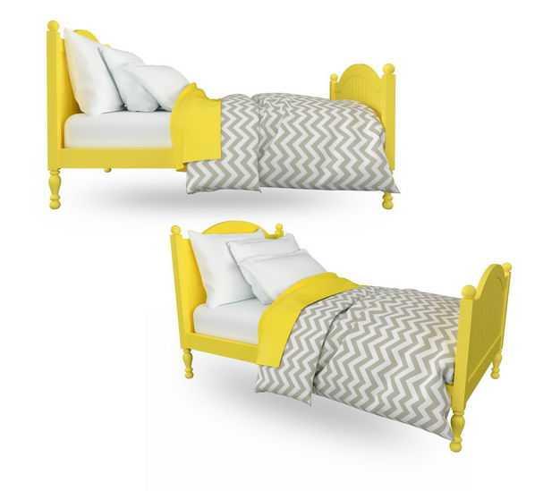 黄色的木床单人床儿童床盖上被子和枕头556807免抠图片素材