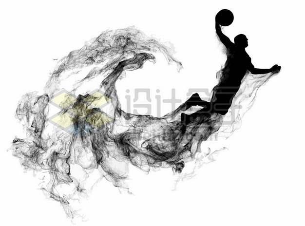 抽象创意篮球运动员打篮球剪影烟雾效果420567图片素材