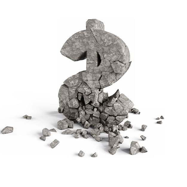 创意破碎的石块3D立体风格美元符号标志122387png图片素材