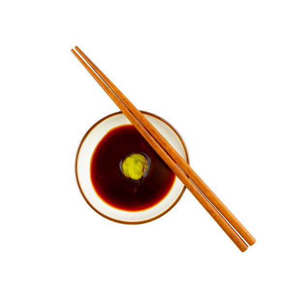 俯视视角一小碗芥末酱油调味品和筷子368890png图片免抠素材