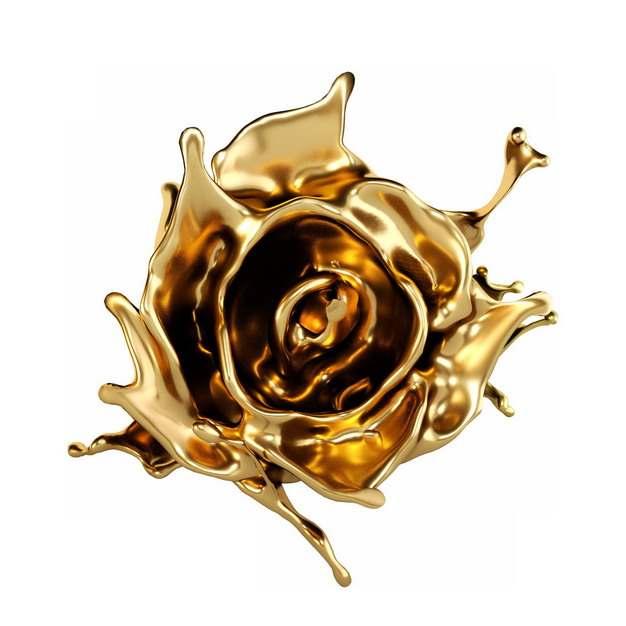 金属黄金打造的玫瑰花767926png图片素材