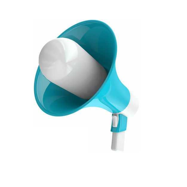 蓝白色的3D立体大喇叭扬声器571463PSD免抠图片素材