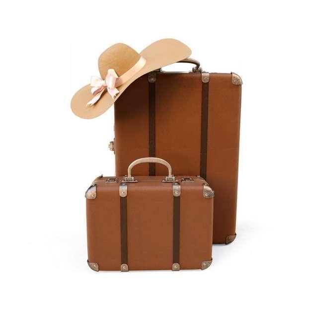 两个大小的棕色旅行箱和遮阳帽热带海岛旅游317456png图片素材