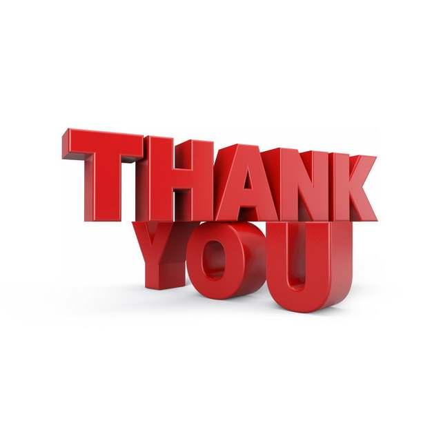 红色3D立体Thank you谢谢你英文字体673971png图片免抠素材