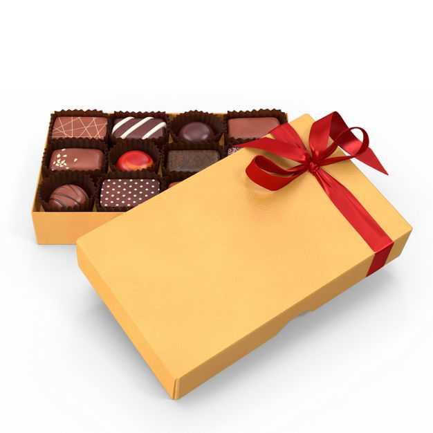 打开的黄色礼盒中的高档巧克力糖果312434免抠图片素材