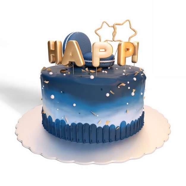 蓝色魔幻色彩的生日蛋糕205118png图片素材
