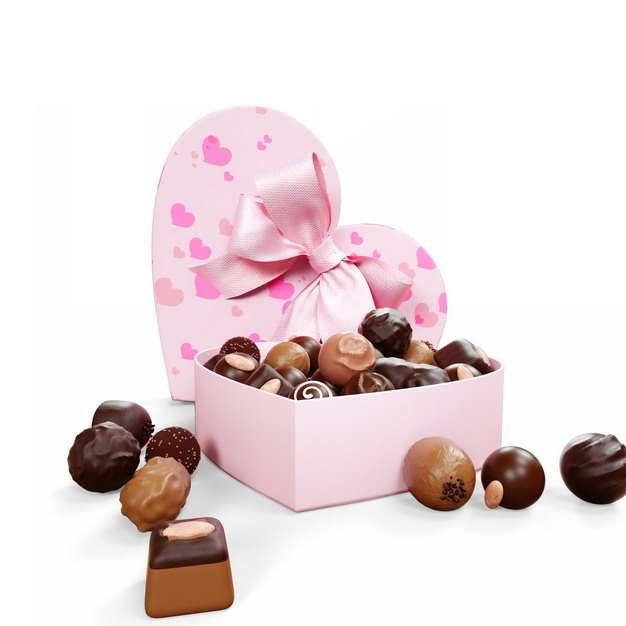 打开的粉色心形礼盒中的巧克力170261png图片素材