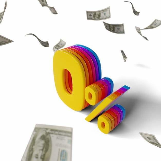 漫天飘舞的美元钞票和彩色3D立体0%百分比103052png图片素材