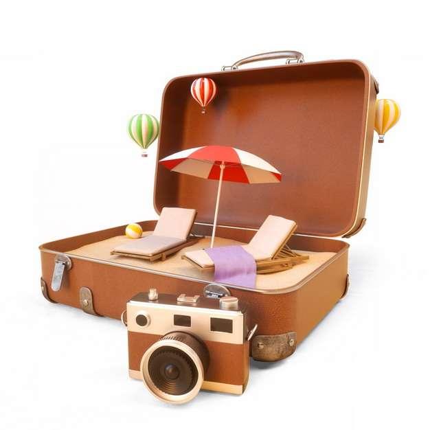 打开的行李箱和沙滩椅沙滩伞以及照相机等热带海岛旅游806958png图片素材