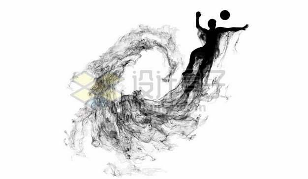 抽象创意篮球运动员打篮球剪影烟雾效果224800图片素材