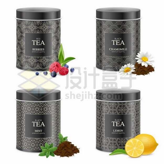 各种水果茶和茶叶罐子139692png矢量图片素材