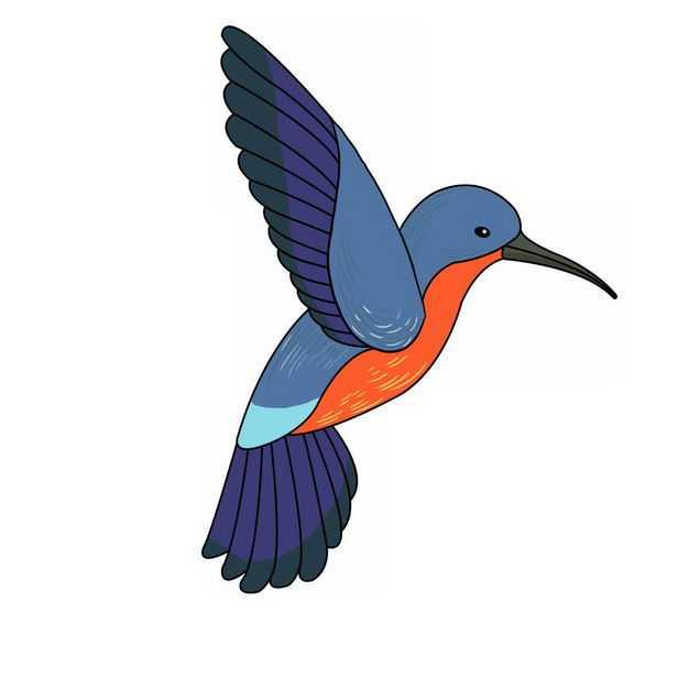 飞行中的卡通彩色蜂鸟小鸟771739png图片免抠素材