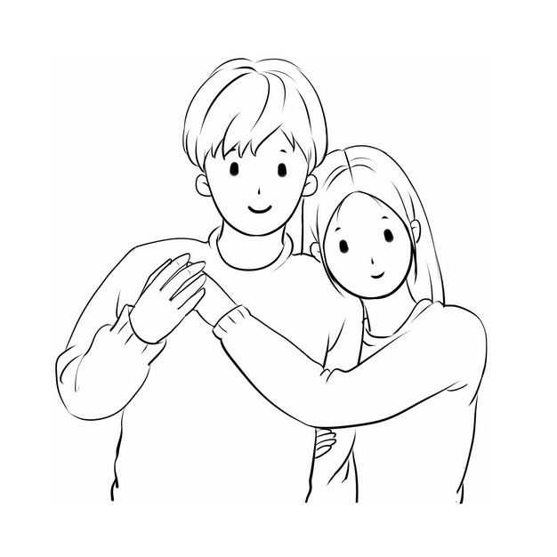 靠在男朋友肩膀上的情侣情人节手绘线条素描插画302517免抠图片素材