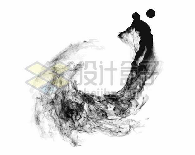 抽象创意足球运动员踢足球剪影烟雾效果109515图片素材