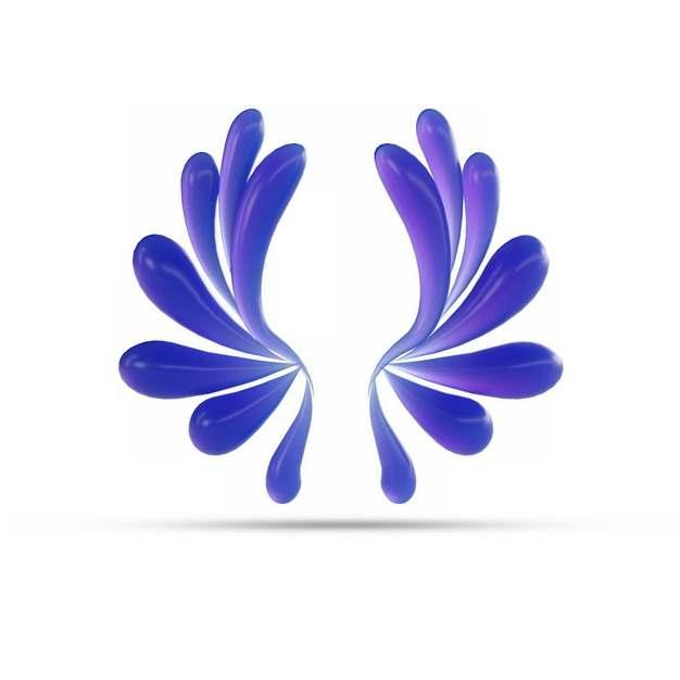 创意3D立体紫色抽象对称液滴装饰图案863859png图片素材