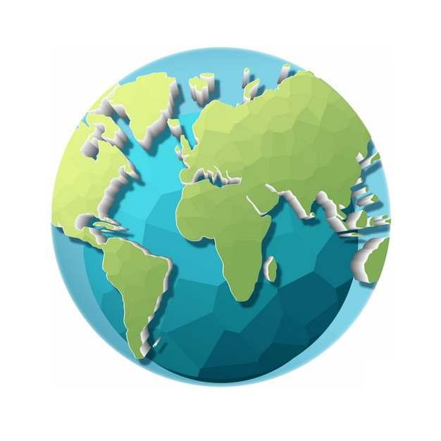创意多边形组成的蓝色绿色科技地球955386PSD图片免抠素材