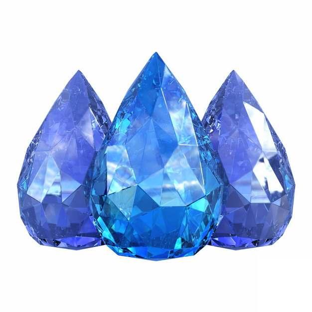 三颗切割好的蓝色钻石蓝水晶蓝宝石816184png图片素材