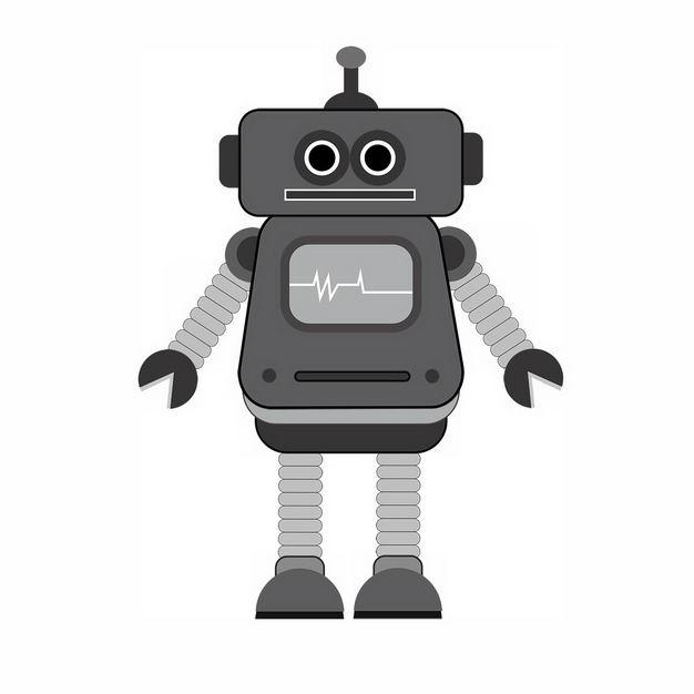 搞笑的灰色卡通智能小机器人423141png图片免抠素材 人物素材-第1张