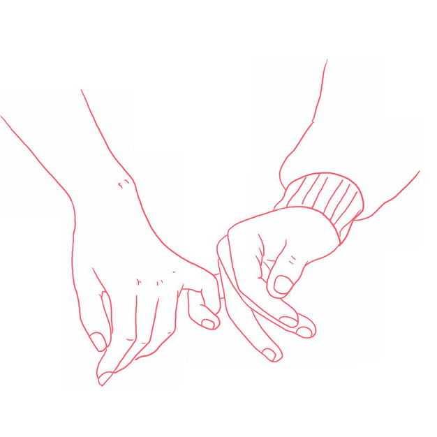 小拇指情侣手牵手红色线条插画721570免抠图片素材