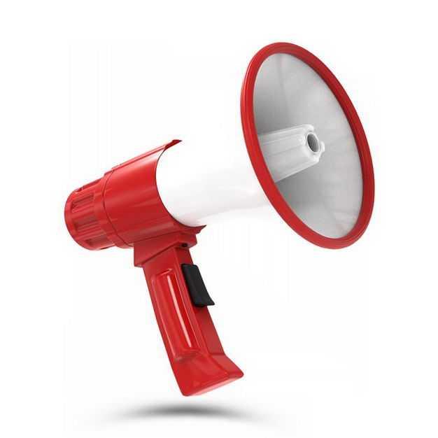 3D立体红白色的大喇叭扬声器727900PSD免抠图片素材