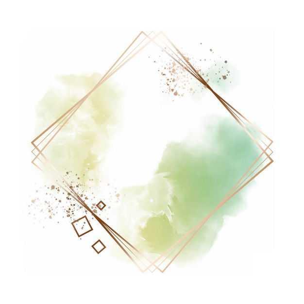 金色四边形边框和绿色墨水渍装饰818147免抠图片素材