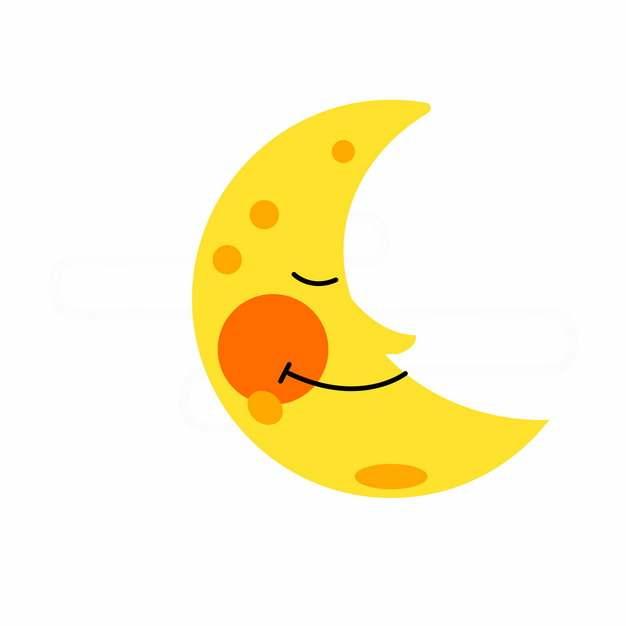 可爱的黄色卡通弯月睡觉的月亮762306png图片素材