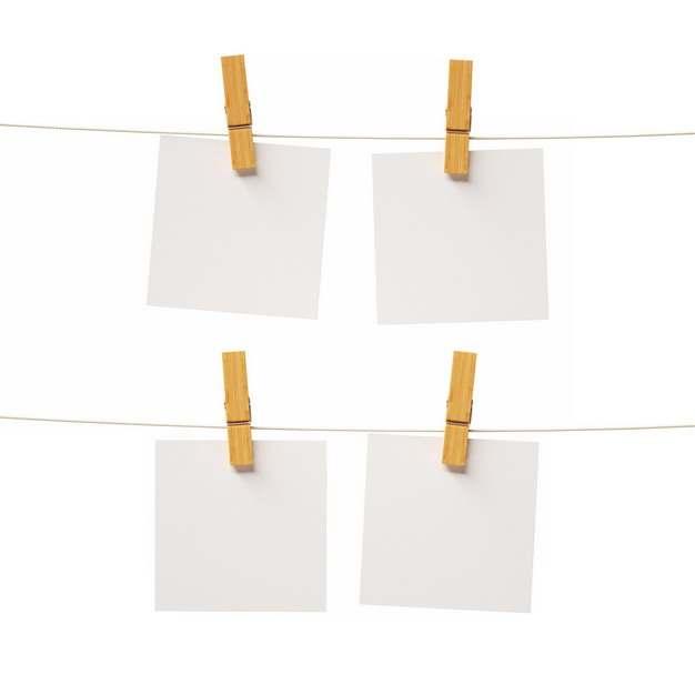 晾衣绳上用夹子夹住的白纸204381png图片素材