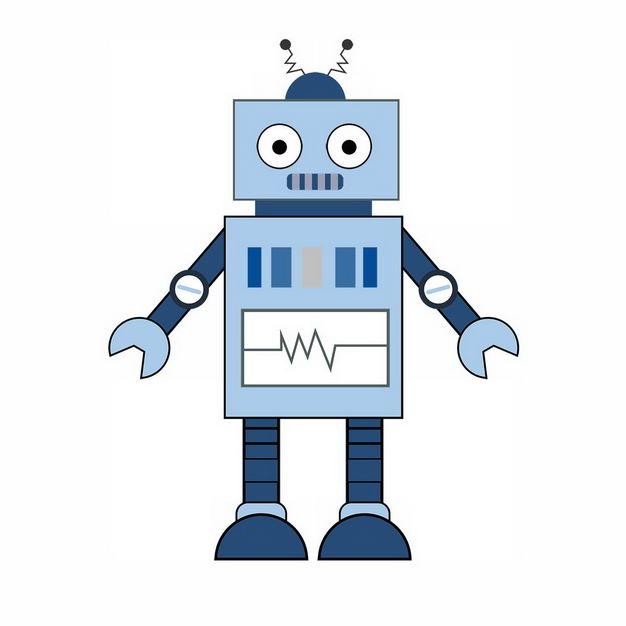 可爱的蓝色卡通小机器人124124png图片免抠素材 人物素材-第1张