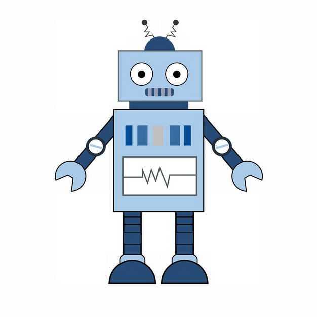 可爱的蓝色卡通小机器人124124png图片免抠素材