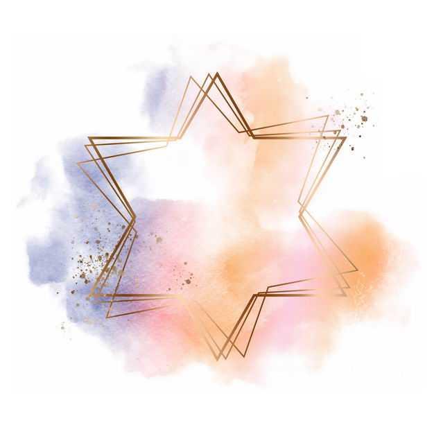 金色六角星边框和黄色紫色墨水渍装饰728333免抠图片素材