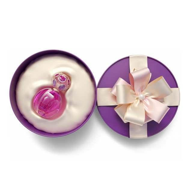 打开的紫色圆形礼物盒和里面的高档香水瓶子833355png图片免抠素材