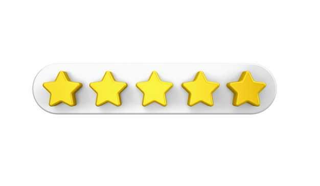 3D立体黄色五角星打五星评分243574PSD免抠图片素材