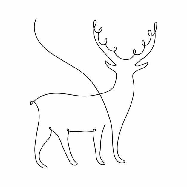 一根线条梅花鹿手绘插画简笔画697503png图片素材