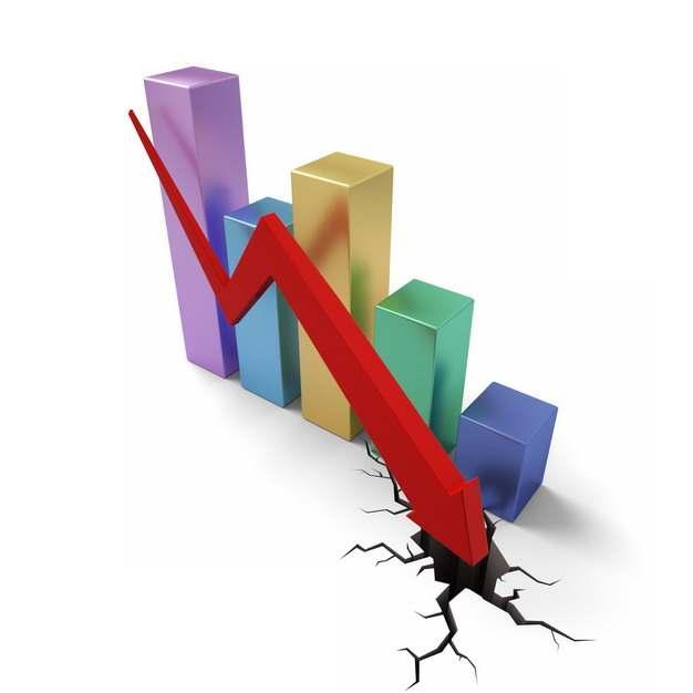彩色3D立体柱形图和下降的红色箭头裂开地面效果象征了经济股市危机444531png图片素材