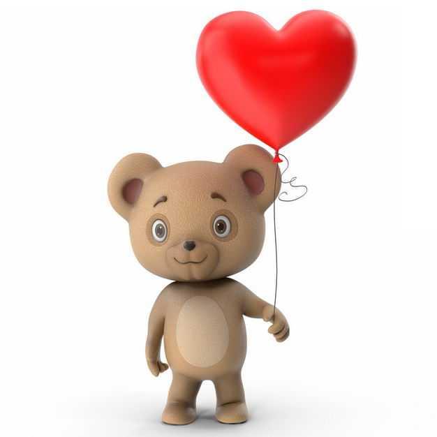 可爱的卡通玩具熊手上拿着红色心形气球582937免抠图片素材