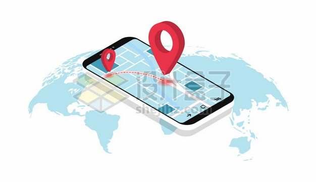 淡蓝色世界地图和手机上的立体地图导航568009图片素材