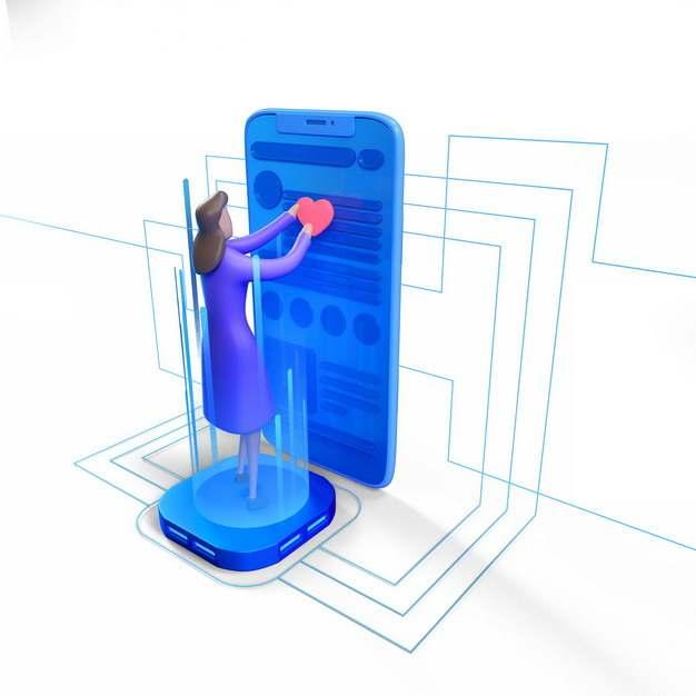 3D立体女孩在蓝色的立体手机上摆放红心APP打分431132png图片素材